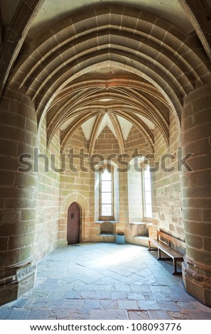 Interior of old traditional christian church, Mont Saint Michel, France