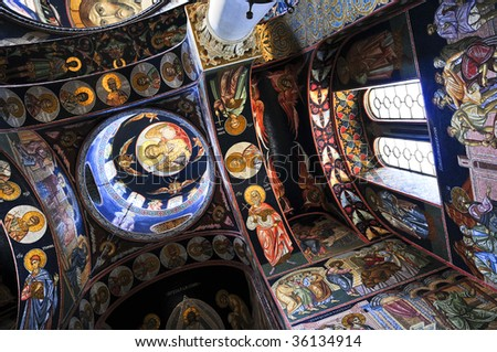 Interior of orthodox christian St. George church in Topola, Serbia