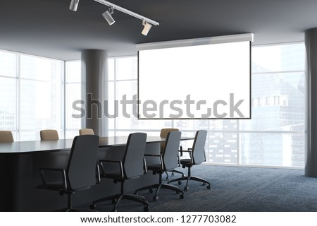 Interior of panoramic office conference room with long table, beige chairs standing around it and big mock up projector screen. 3d rendering