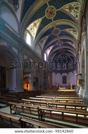 Interior of  Parish catholic church  at Tossa de Mar.  Catalonia. Spain