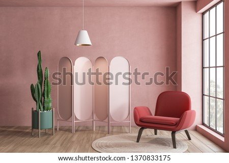 Interior of pink living room with red leather armchair standing on round carpet near pink folding screen. 3d rendering