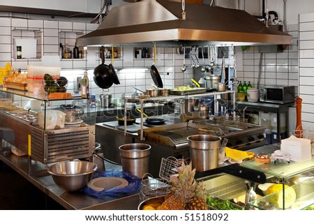 Interior of professional chef kitchen in restaurant