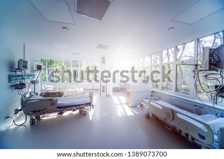Interior of reanimation room in modern clinic. Background