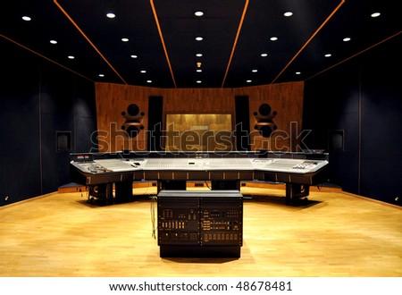 interior of recording studio control desk