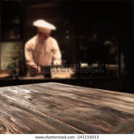 interior of restaurant and cook with top