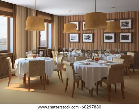 Interior of restaurant. 3d render.