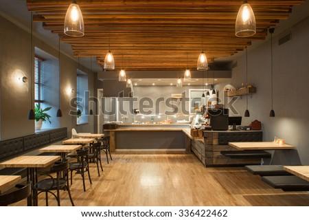 interior of restaurant. wooden...