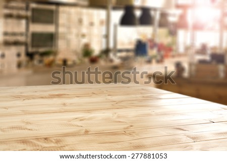 interior of retro kitchen place and desk of yellow color