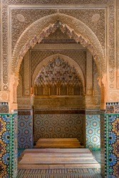 Interior of Saadian Tombs, arches and walls decorated with colored mosaics. Travel and art concept. Marrakech, Morocco