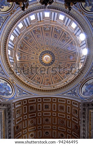 Interior of Saint Peter's dome with wide angle lens (Basilica di San Pietro) Vatican Town, Rome, Italy.