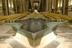 Interior of Salisbury Cathedral with modern font in foreground. Wiltshire. England