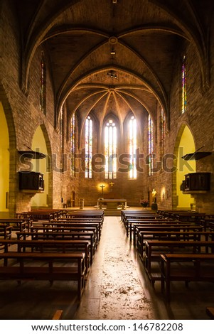 Interior of  Sants Maria del Turers church at Banyoles. Bild in XIII century. Catalonia, Spain