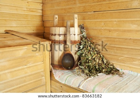 Interior of sauna with wooden bench