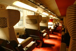 Interior of soft-seated carriage, high-speed train TGV,  France