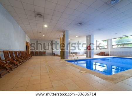 Interior of  spa hotel with  swimming pool