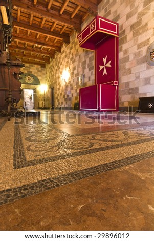Interior of st John  knights palace in Rhodes island, Greece