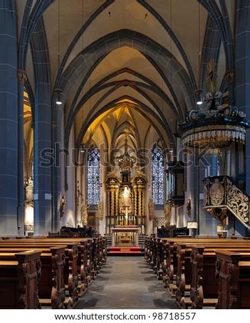 Interior of St. Lambertus Basilica in Dusseldorf, Germany