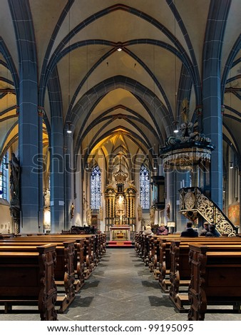 Interior of St. Lambertus Basilica in Dusseldorf, Germany