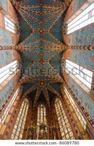 Interior of St. Mary's Basilica, a Brick Gothic church re-built in the 14th century (originally built in the early 13th century), adjacent to the Main Market Square in Kraków, Poland.