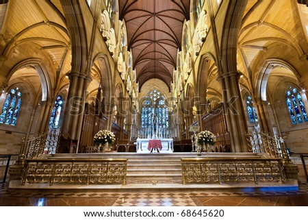 interior of st Mary's cathedral in Sydney Australia