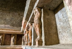 Interior of Stabian baths (Terme Stabiane) in Pompeii, Italy