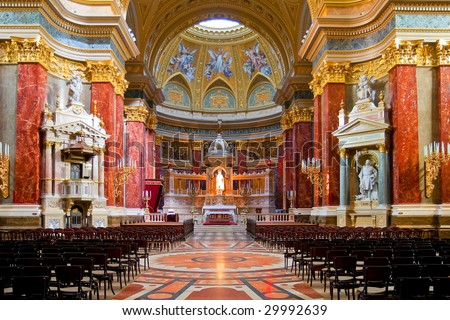 Interior of Stephen's Basilica in Budapest, Hungary