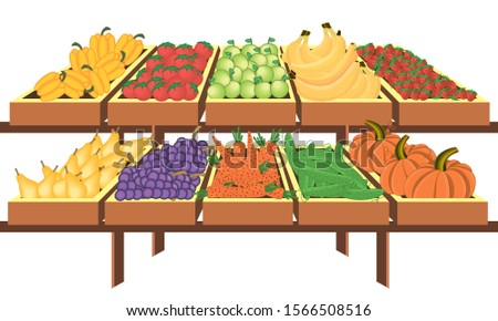 Interior of store, mall, shopping center, with grocery counters, with fresh fruit and vegetables. Store food products, shopping mall, counter with foods.