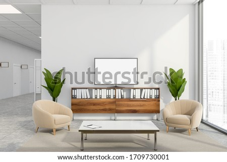 Interior of stylish company waiting room with white walls, tiled floor, comfortable beige armchairs near coffee table and mock up TV screen. Panoramic window with blurry cityscape. 3d rendering Сток-фото ©