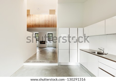 Interior of stylish modern house, kitchen view