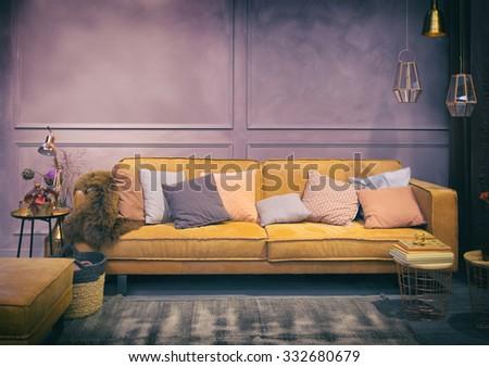 Interior of stylish retro  living room