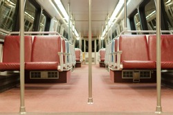 Interior of subway train car in Washington DC Metro system