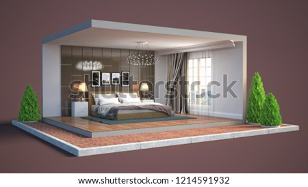 Interior of the bedroom in a box. 3D illustration #1214591932