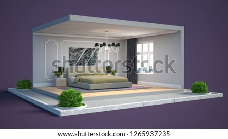 Interior of the bedroom in a box. 3D illustration #1265937235