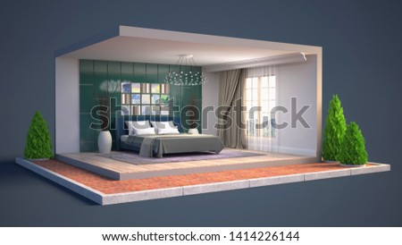 Interior of the bedroom in a box. 3D illustration #1414226144