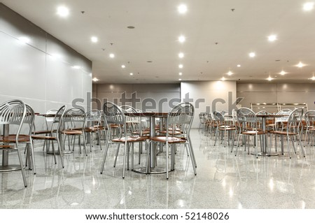 Interior of the cafe with plenty of tables #52148026