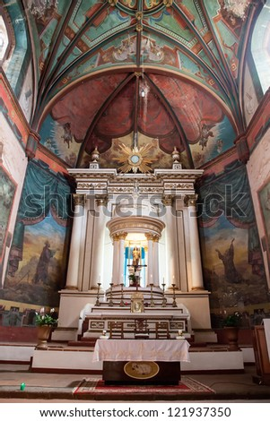 Interior of the catholic church in Tepoztlan, Mexico.