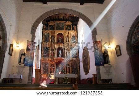 Interior of the catholic church in Tlaxcala, Mexico