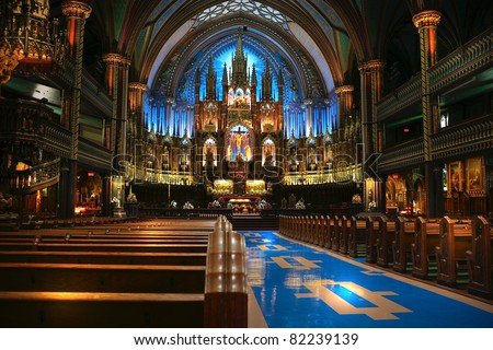 Interior of the catholic church in Torornto, Canada