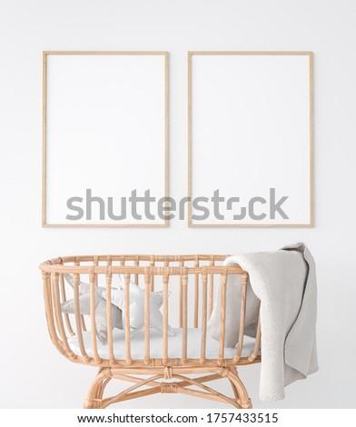 Interior of the child room. sleeping place for newborn. Closeup trendy wooden crib 3d illustration. Mock up frame, 3D rendering, 3D illustration Foto stock ©