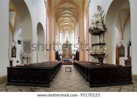 Interior of the Church of Presentation of Virgin Mary in Ceske Budejovice, Czech Republic - stock photo