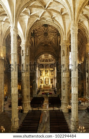 Interior of the church of The Hieronymites Monastery (Mosteiro dos Jeronimos). This UNESCO World Heritage site is located in the Belem district of Lisbon, Portugal.