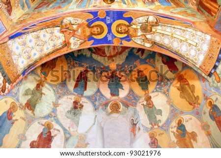 Interior of the Church of Transfiguration in Monastery of Saint Euthymius in Suzdal, Russia