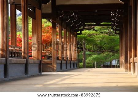 Interior of the famous bridge in Heian Jingu in Kyoto, Japan