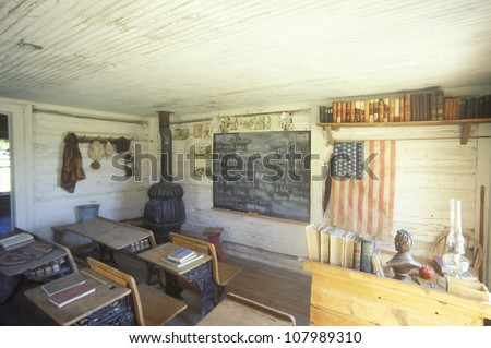 Interior of the first one room schoolhouse in Montana, Nevada City