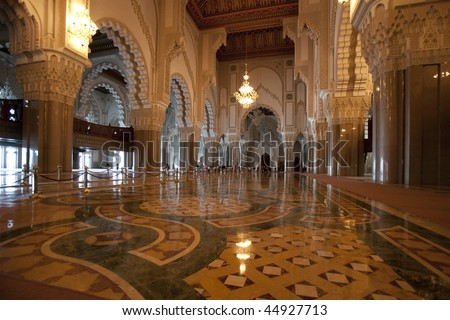 Interior of the Hassan II Mosque in Casablanca