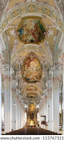 Interior of the Holy Spirit Church (Heiliggeistkirche) in Munich, Germany
