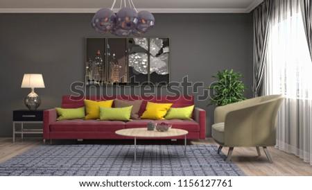 Interior of the living room. 3D illustration #1156127761