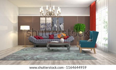 Interior of the living room. 3D illustration #1164644959