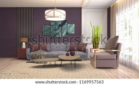 Interior of the living room. 3D illustration #1169957563