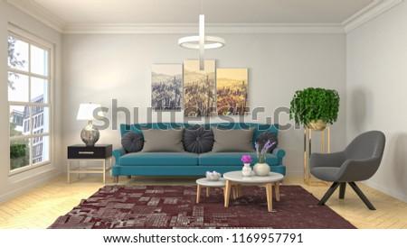 Interior of the living room. 3D illustration #1169957791